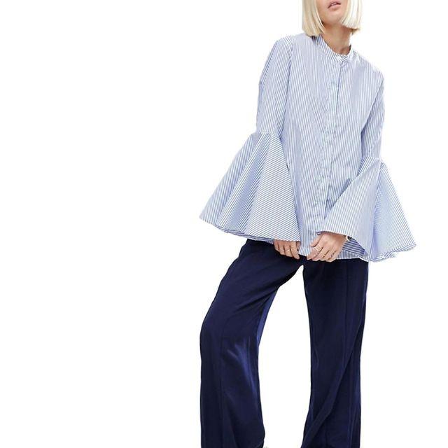 Женщины сладкий flare рукав полосатые блузки с длинным рукавом стенд воротник рубашки дамы случайные Европейский стиль топы blusas LT1226