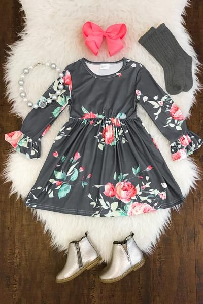 Ava Floral Bell Sleeve Dress