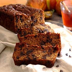 Pumpkin bread with nuts and dark chocolate chips