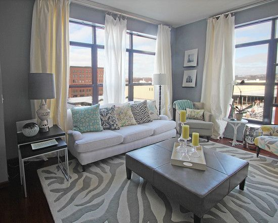 Gray Living Rooms Design, Pictures, Remodel, Decor and Ideas - curtains @ ceiling