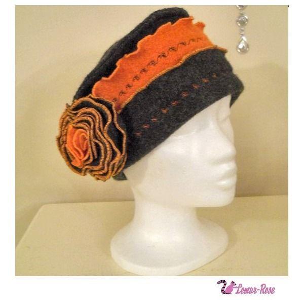 Chapeau bonnet d'hiver femme en laine bouillie orange et gris Zelda : Chapeau, bonnet par lemur-rose:
