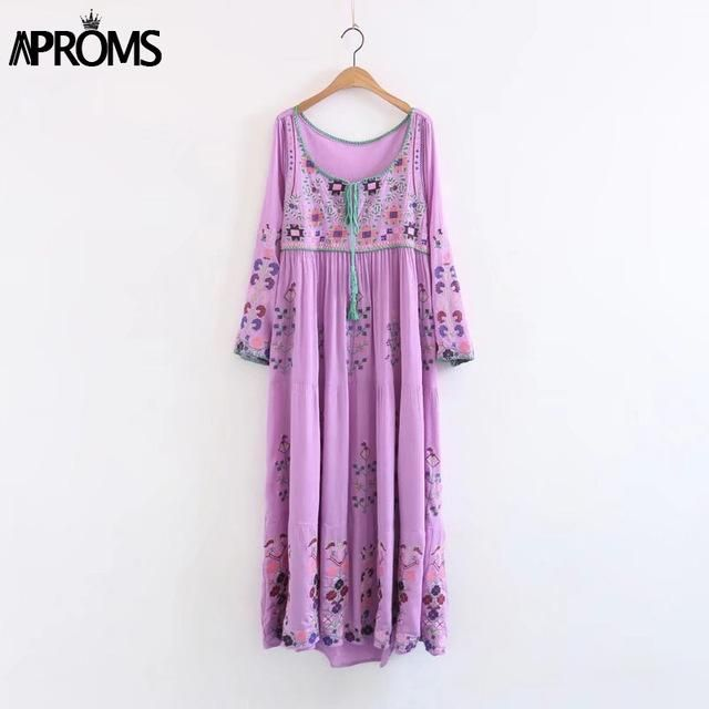 GYPSY Bohemian Embroidery Flower White Maxi Dress Long Sleeve Loose Cotton