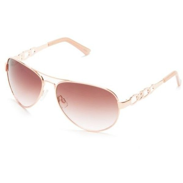 Jessica Simpson Rose Gold Metal Chain Temple Aviator Sunglasses ($27) ❤ liked on Polyvore featuring accessories, eyewear, sunglasses, rose gold, aviator sunglasses, rose glasses, chain glasses, aviator style sunglasses and rimmed glasses