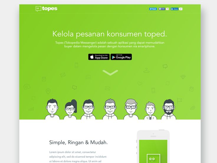 Create landing page unofficial for ios app messanger, we call this Topes (Tokopedia Messanger).   Really happy if you give me feedback or suggestion  Best, Reza