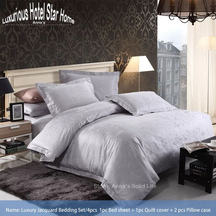 Cheap Bedding Sets, Buy Directly from China Suppliers:	Luxury Five Star Hotel Linen Jacquard 100% 60s Cotton Bedding Set 4pcs Bed sheet Quilt cover Pillow case King size Home