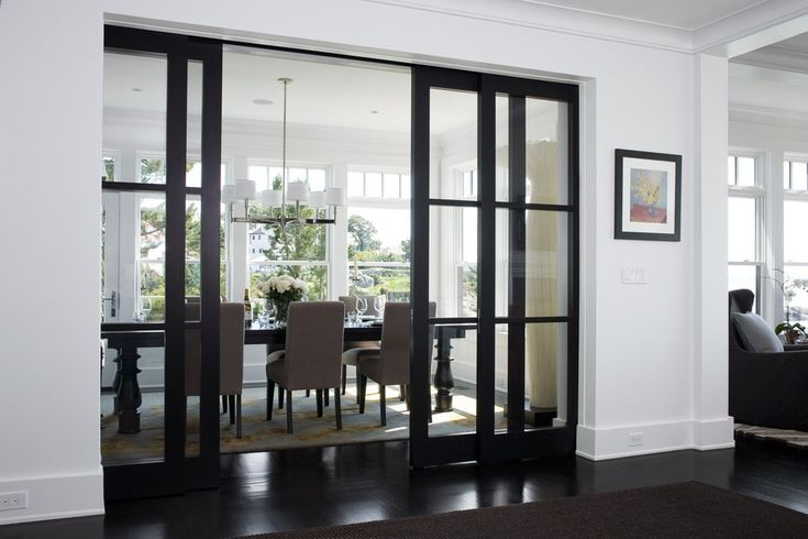 French Pocket Doors Home Office Contemporary with Curtains and Drapes