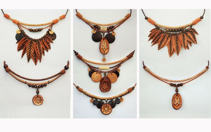 Natural Jewelry by JevZ. Eco-friendly, tribal, green. All materials are natural : carved avocado seeds, leather with pyrography, wooden and stone beads, cork lace, hemp string.