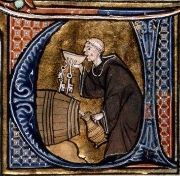 Detalle de inicial historiada: Un monje bodeguero cata vino de barril con una escudilla, mientras con la otra mano llena su jarra. Li Livres...