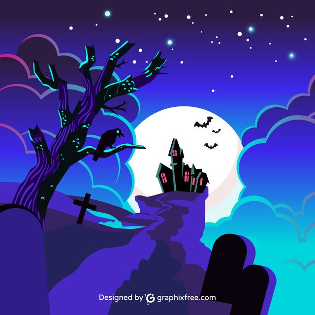Halloween Castle - #background #tree #party #house #halloween #sky #grunge #silhouette #celebration #cross #holiday #night #fall #pumpkin #horror #bat #evil #scary #grave #terror #dark #castle
