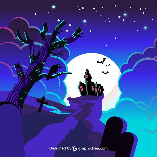 Halloween Castle - #background #tree #party #house #halloween #sky #grunge #silhouette #celebration #cross #holiday #night #fall #pumpkin #horror #bat #evil #scary #grave #terror #dark #castle