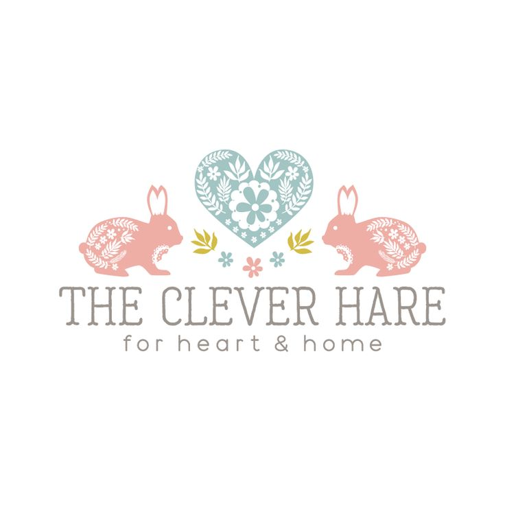 Rabbits & Heart Premade Logo Design & Blog Header - Customized with Your Business Name!