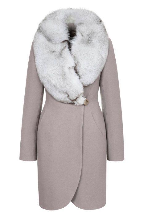 Зимнее пальто с воротником шалькой из песца, трюфель. Арт.356у