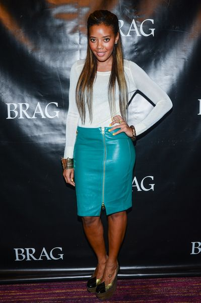 Love this teal leather skirt!