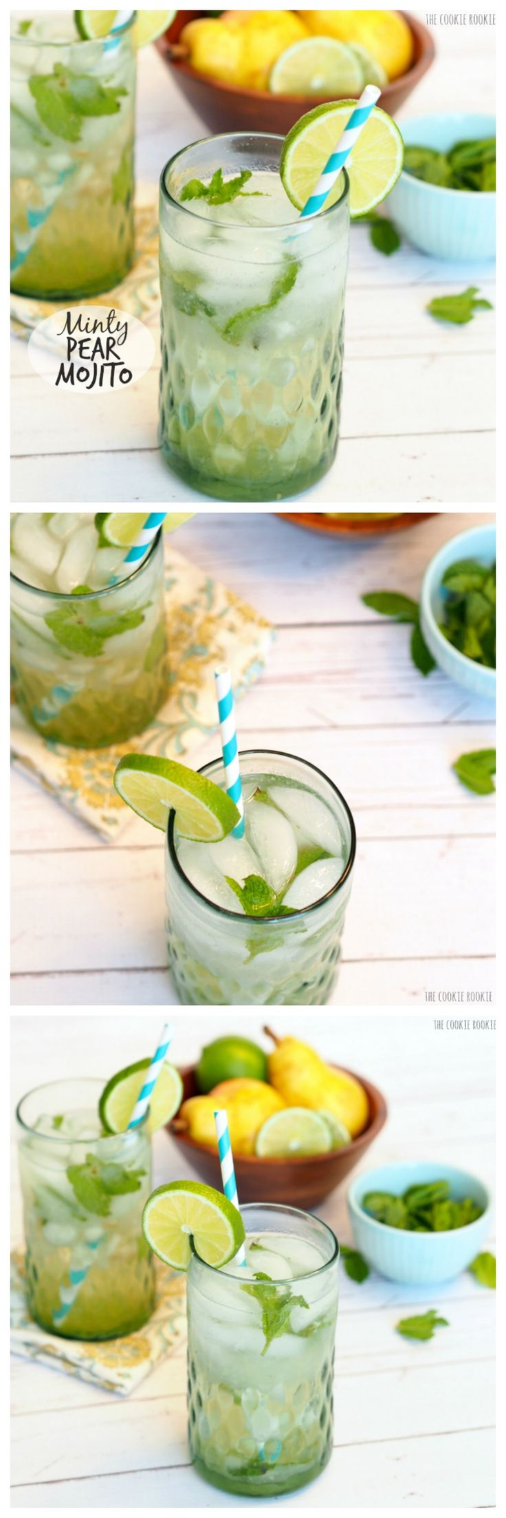 Minty Pear Mojito! Refreshing, easy twist on a favorite cocktail! Delicious and perfect for fall! - The Cookie Rookie