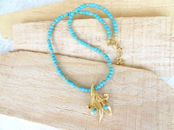 Turquoise Necklace  Flower Pendant Gold Necklace OOAK