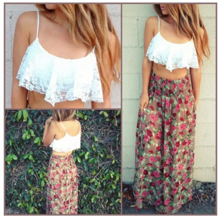 flowy crop top maxi skirt fashion