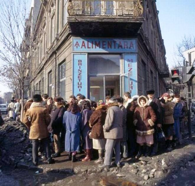 Romania before 1989 - queue for cheese and salami