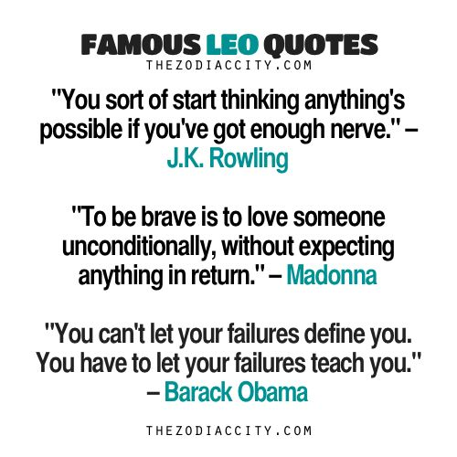 Famous Leo Quotes: JK Rowling, Madonna, Barack... - TheZodiacCity - Get Familiar With Your Zodiac Sign