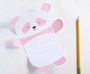 Printable Pink Panda Paper: free printable stationery doesn't get cuter than this. Fold up the free printable panda and tape it shut before you deliver it to a friend!