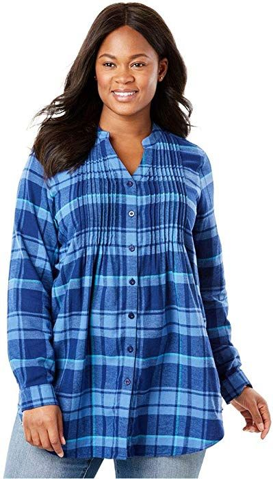 e966905be02 Woman Within Plus Size Pintuck Flannel Shirt - Grey Plaid