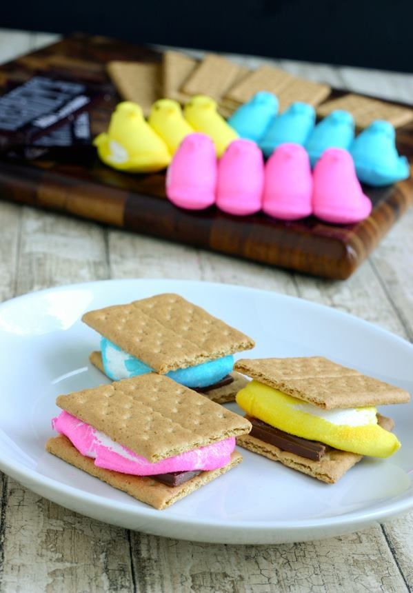 LOL!!!!!: Desserts, Easter Smore, Peeps Smore, Cute Ideas, Peeps S More, Great Ideas, Easter Treats, Kid, Easter Ideas