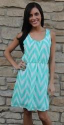 Mint Chevron Dress - Dottie Couture Boutique