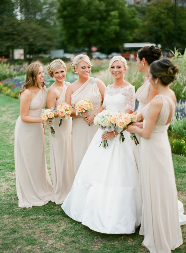 Taupe One Shoulder Bridesmaids Dresses | photography by http://www.hunterphotographic.com