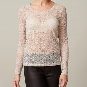 ANASTASIA T-shirt full lace, silver grey (beige). Shirt in full lace. Cool to wear under a jacket, so the lace is to be seen.  Coloured by the eco-tex 100 standards.