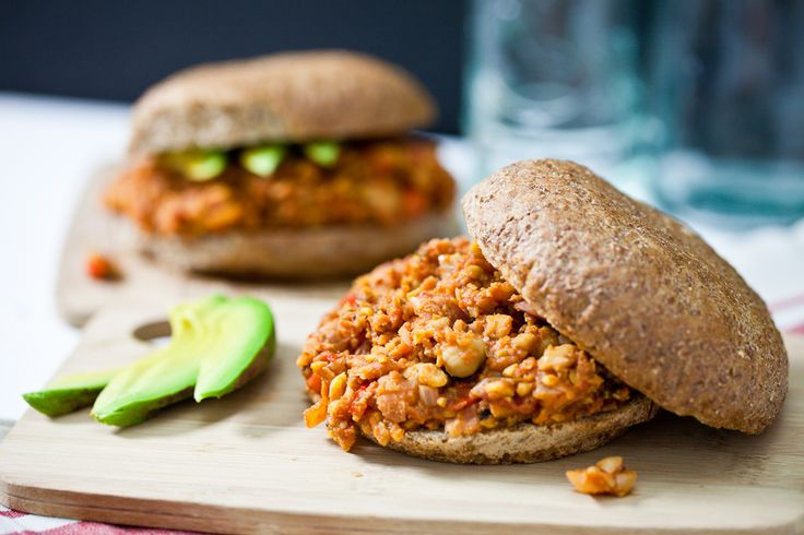 Sloppy Chicks (Chickpea Sloppy Joes) - made with red bell pepper, onion, canned fire roasted tomatoes, tomato paste, bragg, sriracha, maple, oregano, cumin, thyme, smoked paprika, liquid smoke, nutritional yeast