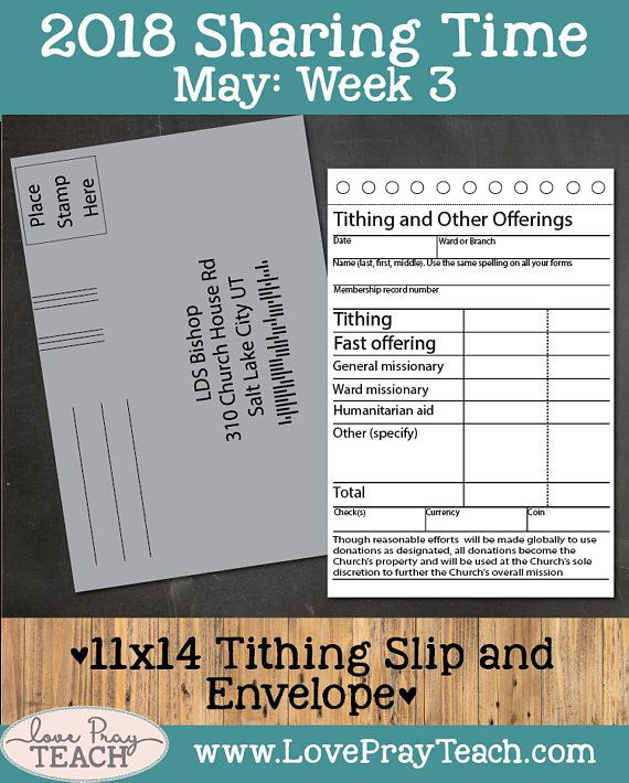 Lesson helps packet including an 11x14 Tithing slip and Envelope