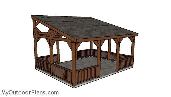 16x20 Lean To Pavilion Plans Pavilion Plans Wooden Playhouse Lean To