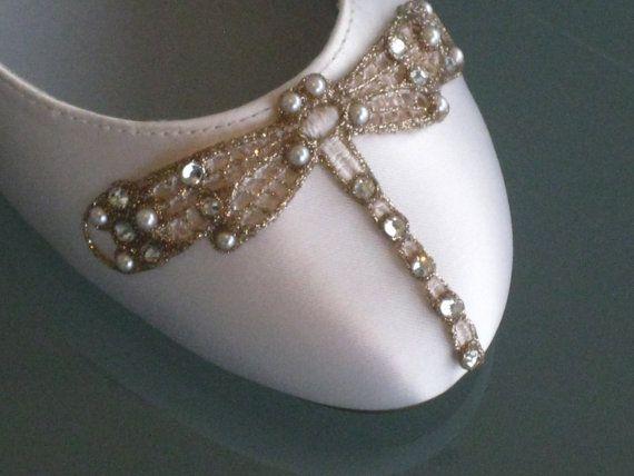 Art Deco Ivory Dragonfly Ballet Flats Wedding by BeholdenBridal, $125.00