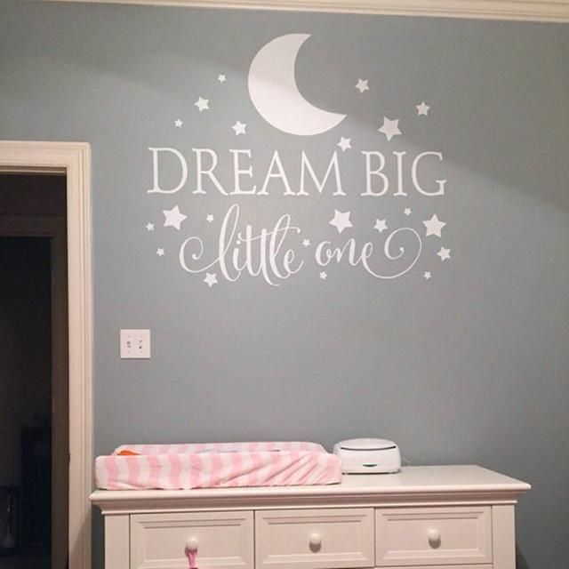 Dream Big Little One Quotes Wall Sticker PVC Removable