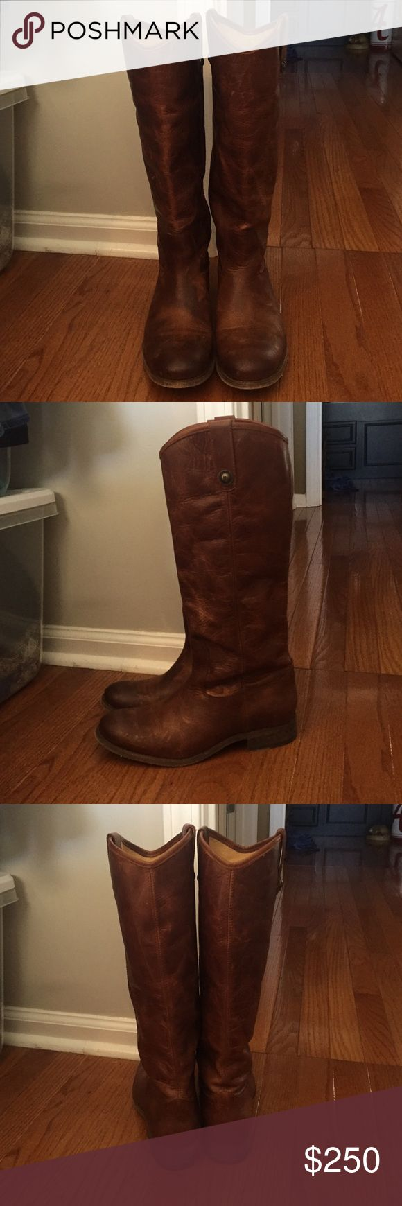 Frye Mellisa blog cognac size 8 only worn once!!!! Super cute frye boot! No problems! only wear is on the bottom! Frye Shoes Winter & Rain Boots