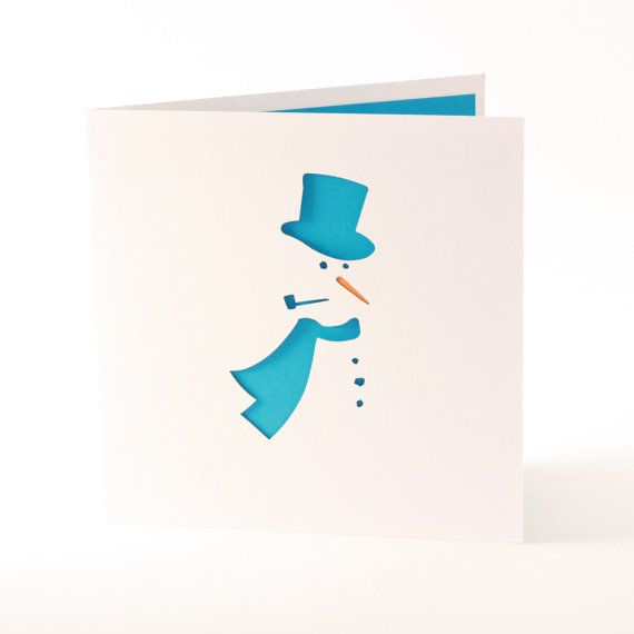 Snowman Christmas card with blank insert by madebyloveaustralia