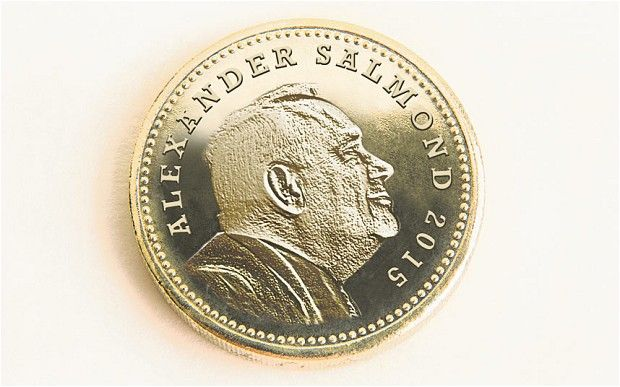 Alex Salmond's head on new Scottish pound coin.  The Scottish independence debate has been taken to a new level after plans were unveiled for Alex Salmond's head to feature on Scottish pound coins. The plan, which would be introduced on April 1, 2015, would see the head of Scotland's First Minister replace that of the Queen if the country votes for independence.  #AprilFool