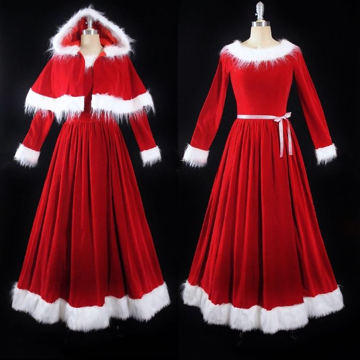 Vintage Velvet Mrs Santa Costume Mrs Claus Dress