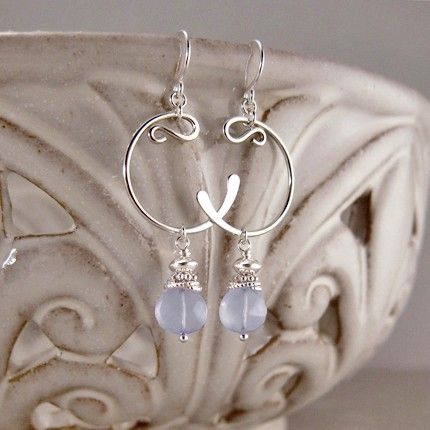 Sterling Silver Hand-forged Crescent Earrings with Embellished Blue Chalcedony Drops