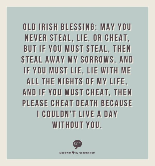 """Leap Year"" movie wedding speech quote - Old Irish Blessing - the perfect wedding toast!"