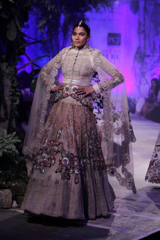 Delhi Couture Week 2013 - Anamika Khanna short white jacket lengha