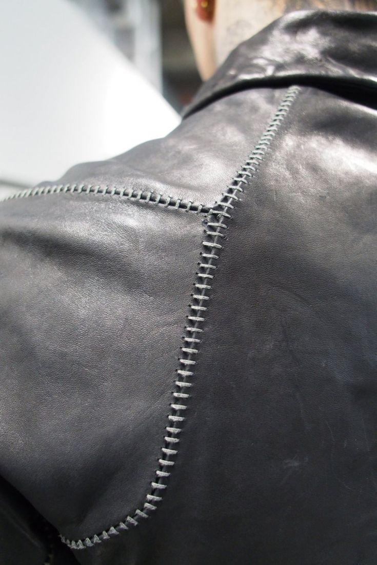 Boris Bidjan Saberi fw13 scar stitch horse leather jacket details