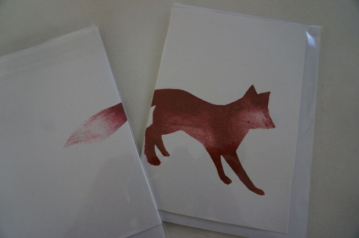 """NEW!  hand painted """"Foxy"""" card by Claire Webber, Hobart, Tasmania.  Each card is individually hand painted using eco-friendly water based paints.  $7 each  For more info, please email: webberclaire1@gmail.com"""