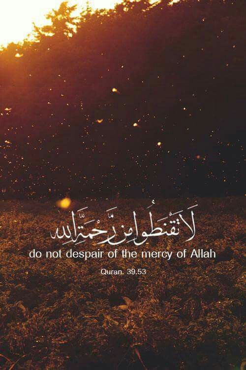 Do not despair of the mercy of Allah — Quran