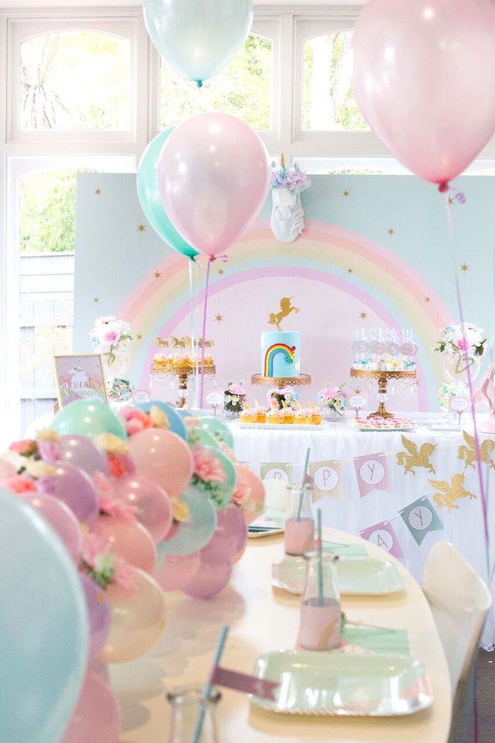 Floral Rainbow Glam Unicorn Birthday Party on Kara's Party Ideas