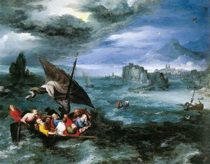 """Painting """"Christus in de storm op het meer van Galilea"""" by Jan Brueghel (de Oude) - www.schilderijen.nu > Symbol of Courage"""