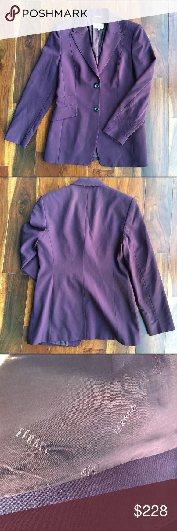Feraud Paris Wool Purple Blazer Gorgeous Parisian craftsmanship in the beautiful jacket.   Fully lined in branded fabric.  Size FR 40, US 8. Feraud Paris Jackets & Coats Blazers