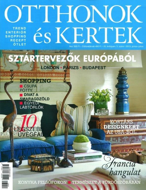 An article featuring the South of France villa in the Hungarian publication, Otthonok es Kertek (Homes & Gardens)