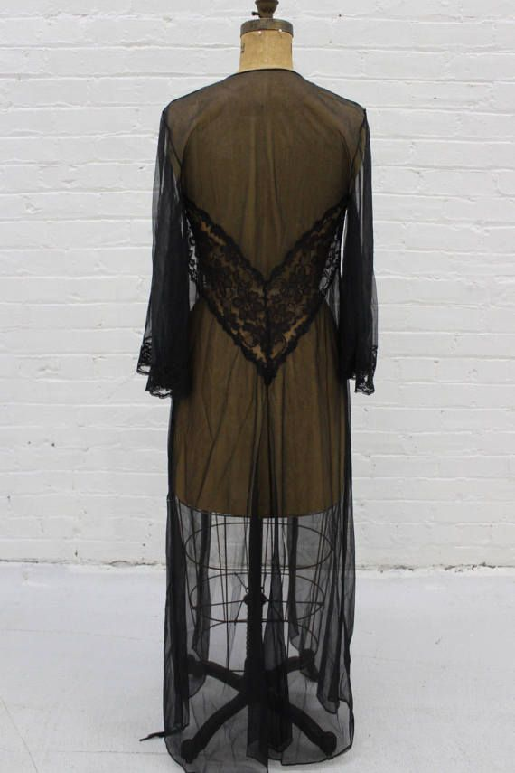 Vintage Sexy Black Nylon Chiffon Peignoir by DownToMarsVintage
