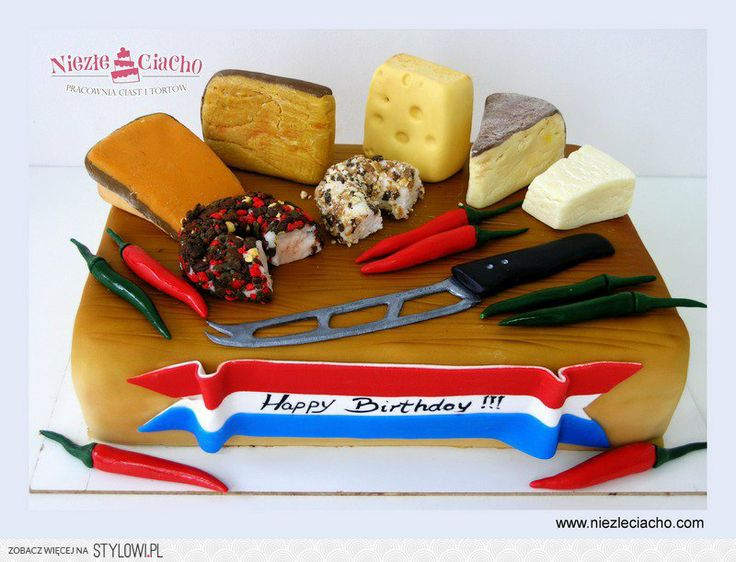 Śmieszne torty, sery, papryczki chili, deska serów, sery pleśniowe, tort na zamówienie, tort w stylu angielskim