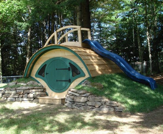 hobbit hole playhouse with slide